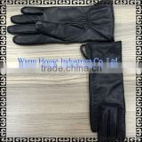 2016 Fashion Wholesale Women's Superior Chrome Black Short Fingered Gloves Sex Leather