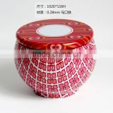 gift packaging metal box round bird's net design
