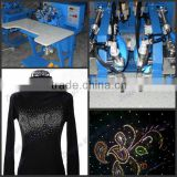 rhinestone transfer machine/ultrasonic rhinestones hot fixing machine price/digital two heads rhinestone hot fix machine
