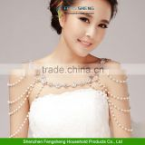 Pearl Crystal Flower Wedding Bridal Body Shoulder Chain Halter Necklace 1 Pair Torque