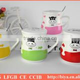 ceramic coffee cup lids and decal printing coffee mug with lid and handles cheap mug ceramic cup with iron spoon