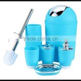 High Quality 6 Pieces/Set Six Color Plastic Bathroom Set Soap Dispenser+Soap Dish++Toothbrush Holder+Tumbler+ Waste Bin
