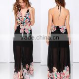 chiffon maxi new fashion ladies dress spaghetti strap open back floral Border Print long summer dress