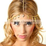 Fashion metal noble gold covered cystal stone metal long elastic hair band headband