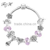 Yiwu Wholesale price pink murano glass bead and heart pendants fit european fashion charm bracelet