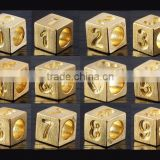 925 Sterling Silver Square Cube Number Beads Charm With 18K gold Plating