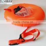 6p PVC Light and Visible Inflatable Swim Buoy Donut with separate clear dry bag for Open Water Swimmers