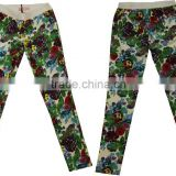 Lastest design fashion floral pants women cotton strech floral printing supper skinny push up pants