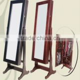 Floor wooden jewelry mirror cabinet with cherry finished