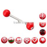 TR01027 tongue barbell red colored tongue piercing jewelry