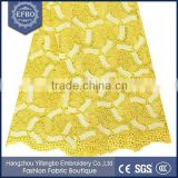 Nigerian woman dresses guipure lace yellow rhinestones decoration cupion lace polyester material cord lace fabric