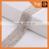 Silver cup chain rhinestone trim,clothing decoration crystal beads