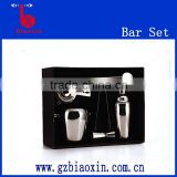 stainless steel bar set, six sets sliding bar set including 1L ice bucket/shaker/strainer/jigger/ice tong/stirrer
