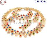 CJ1150-(9-14) colorful beads gold plating fashion design jewelry sets for wedding/evening party africa Nigeria jewelry