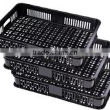 RH-VFB01 600*400*100 black mesh plastic basket for vegetable & Fruit rack plastic vegetable storage basket