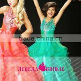 StyleMW0150 New Arrival Organza Crystal Ball Gown Cheap Girl Pageant Dresses for Sale