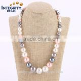 8-12mm colorful graduated shell fashion newest statement pearl necklace