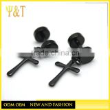 New design fashion 316 stainless steel black cross stud earrings for men, fashion stud dangle cross earrings (HE-009)