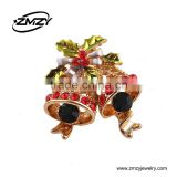 New Design Christmas Brooches Pins for Women,Top Quality Fashion Crystal Gold Plating Charm Collar Brooch Jewelry