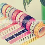 Wholesale YIWU FACTORY 1.5cm x 10m Polkadots Washi Tape Paper Washi Masking Tape Adhesive Roll Decorative Card Craft Trim