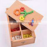 Froebel Wooden Colorful Beads Teaching Tool Learning Educational Preschool baby toys Colorful wood particle combination