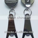 retractable plastic badge holder with bottle opener