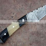 CUSTOM HAND MADE DAMASCUS STEEL KNIVES 8 INCH OVERALL 3.25 INCH DX BLADE BONE & HORN HANDLE