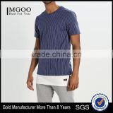 MGOO New Launched Streetwear Cool Fit T-shirt Mens Vertical Stripe Longline T Shirts