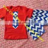 Patriotic Clothing Baby Navy Blue Tie Shirt with Chevron Short Sets Wholesale Baby Outfits