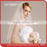 V0108W1-1 Classical Glass Beads-edged with Sequins Flowers Wedding Bridal Veil