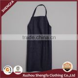 Heavy Cotton/poly Jean Adult Bib Apron 240gsm Dark Blue with one pocket tubular ties bartack