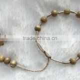 8mm Gorgeous Natural Round Polished Wood Beads Handmade Cord String Bracelet Wooden Prayer Beads Rosary Cross Pendant Bracelet