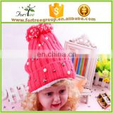 hot sale colorful winter knitted hats with decoration for kids, with top ball