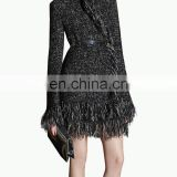 Fashion Latest Open Warm Tassel Hem Design Winter Coat Women Sweater Coat