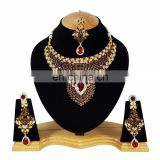 Indian Designer Gold Plated Bollywood Pary wear Jewelry Necklace Set Dark Red Color