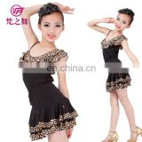 Sexy black leopard practice children latin dance costume top and skirt with size S M L XL ET-110