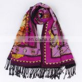 Women Winter Print Silk Shawl