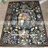 Black Marble Fruit And Flower Inlay Dining Table Top