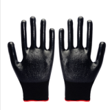 42g black shell black nitrile coated gloves