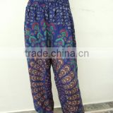 Blue Women Yoga Boho Gypsy Harem Pants Thai Fisherman Pants Aladdin Pants Wrap Pants