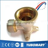 Professional Factory tube fitting nickel plated brass female wall elbow for pex-al-pex pipe