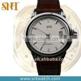 Leather band men fashion stainless steel mechanical watch