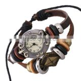 Hotselling handmade braided leather bracelet multy layer wrap watch bracelet cheap price