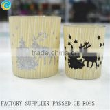 Wooden Barrel with Glass Candle Holders glass jars for candle making                                                                         Quality Choice