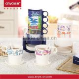 D559 Fashion Novel Design Plastic Cup Stackable Rainbow Shaped Melamine Plastic Cup Holder Coffee 4 In 1 300ml Mug