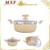 MSF-6715-Casserole aluminum hot pot keep the warm food in casserole heat resistant glass cover soft touch silicon handles                                                                         Quality Choice
