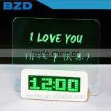 New Promotional Multi-functional USB HUB Digital Transparent LCD LED Message Green Board Alarm Clock with Timer