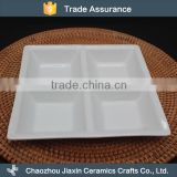 Custom big hotel white ceramic square four tray snack dish                                                                         Quality Choice