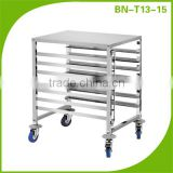 (BNT13 ~T15) Cosbao single row 7 layers baking trolley, tray rack trolley, stainless steel tray rack trolley