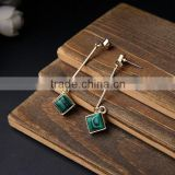 Mint square stone dangle earrings